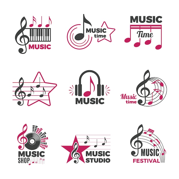 Music Notes Logo Badges With Song And Sound Symbols Audio Podcast Radio Logos Collection Premium Vector