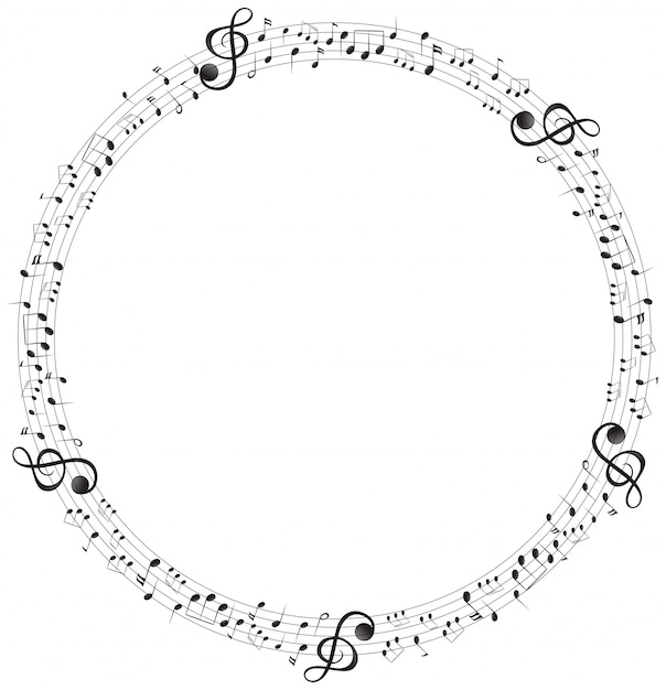 Music notes on round scales frame Free Vector