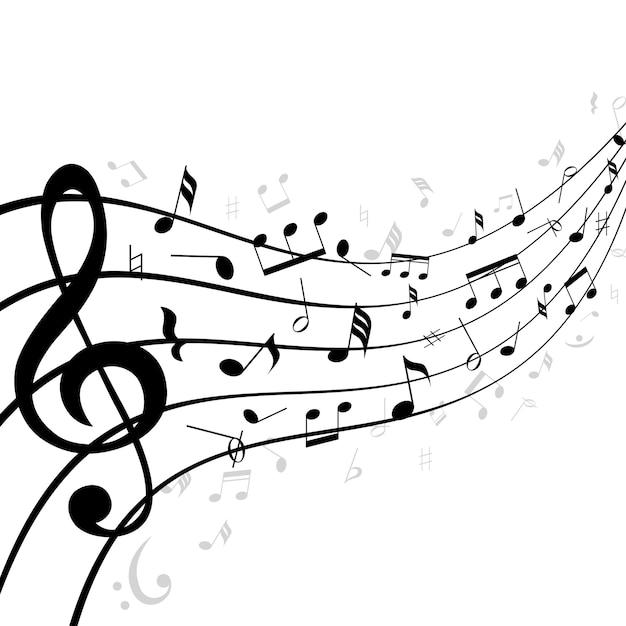 Note musicali su un pentagramma o pentagramma Vettore gratuito