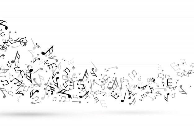 Music notes swirl. wave with notes musical stave key harmony, symphony melody flowing music staff treble clef vector background Premium Vector