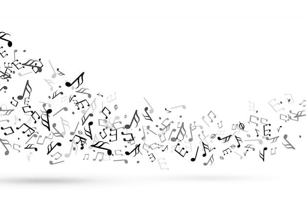 Ноты вихрем. волна с нотами музыкального нотного ключа гармонии, симфоническая мелодия течет музыка посох скрипичный ключ фон вектор Premium векторы