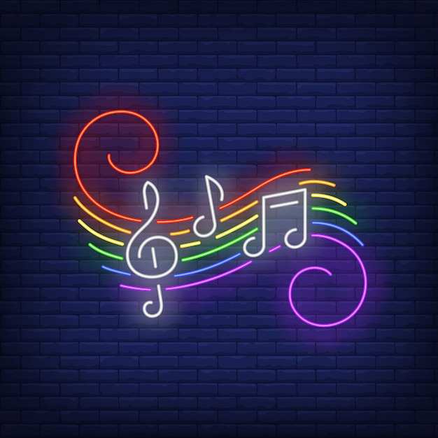 Music notes with lgbt colors neon sign Free Vector