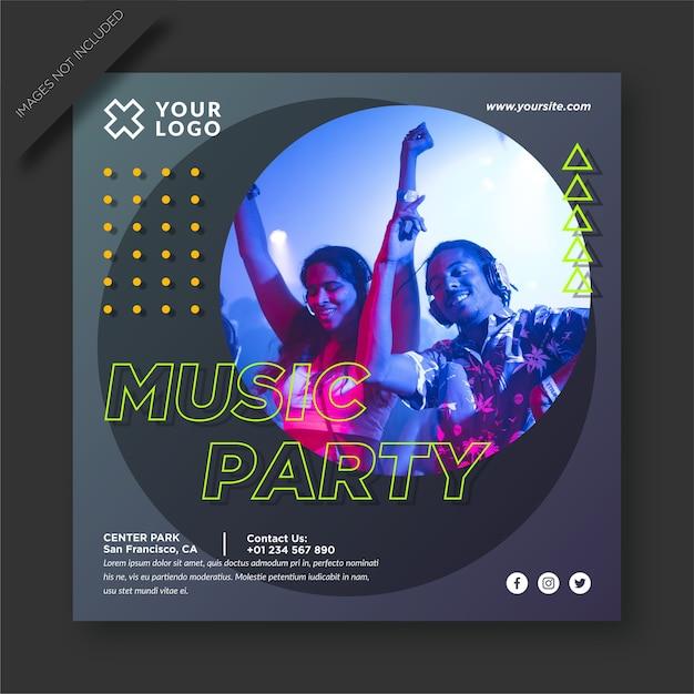 Музыкальная вечеринка и публикация в социальных сетях Premium векторы
