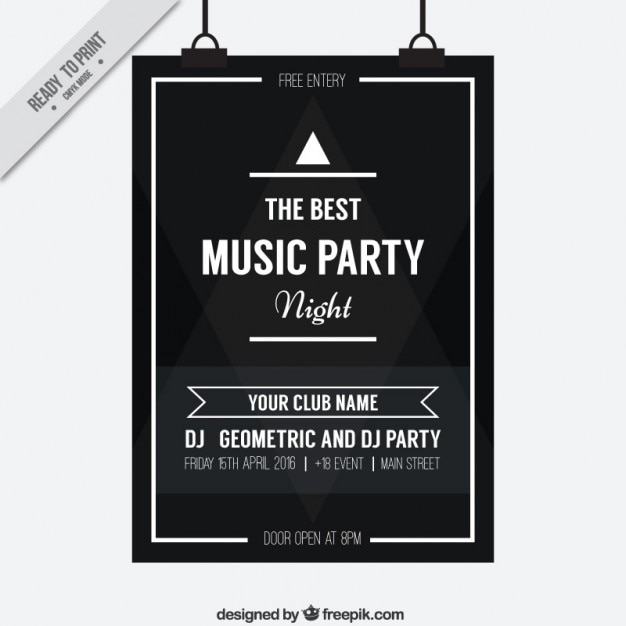 Music party black poster free vector