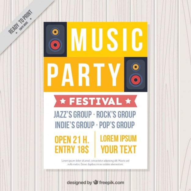 Music party brochure Free Vector