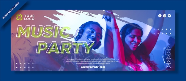 Music party facebook cover and social media post Premium Vector