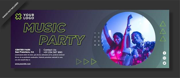 Music party facebook poster Premium Vector