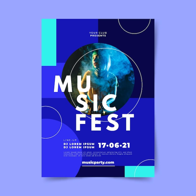 Music party festival dj poster template Free Vector