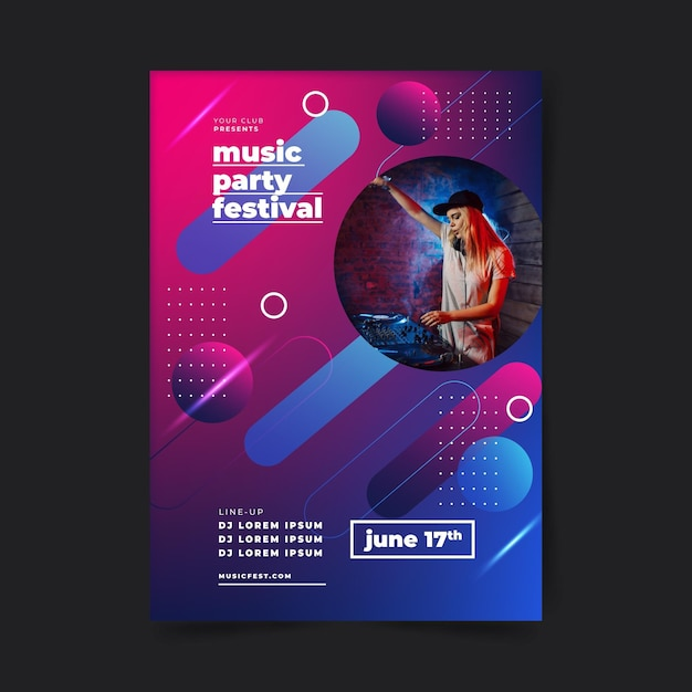 Music party festival poster template 3d shapes Free Vector