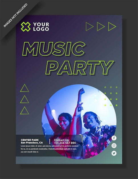 Music party flyer and social media post Premium Vector