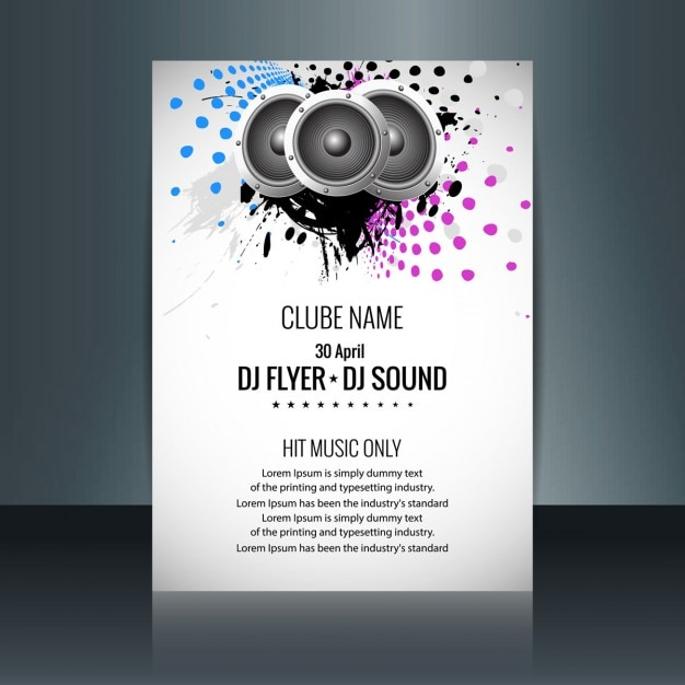 Music Party Flyer With Speakers And Colored Dots Free Vector