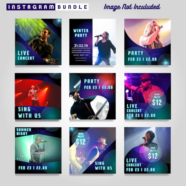 Music party instagram story template Premium Vector