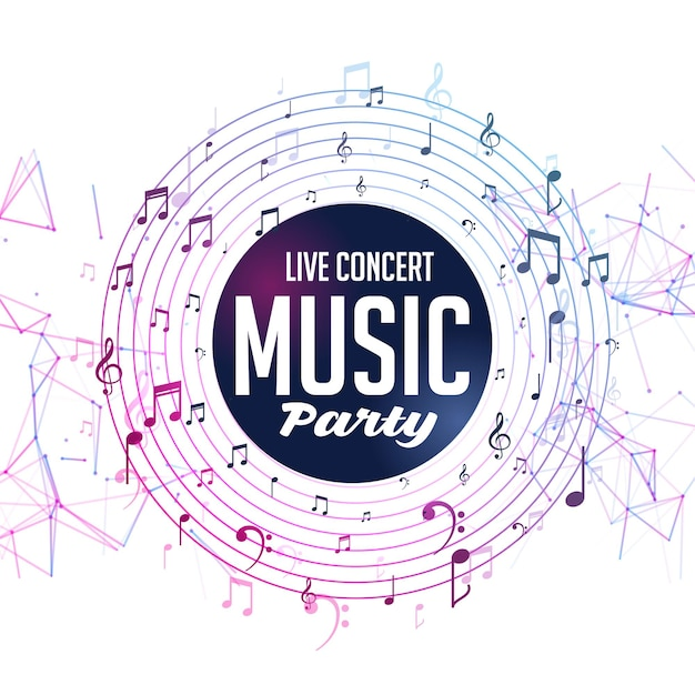 Шаблон живого концерта музыкальной вечеринки с нотами Бесплатные векторы