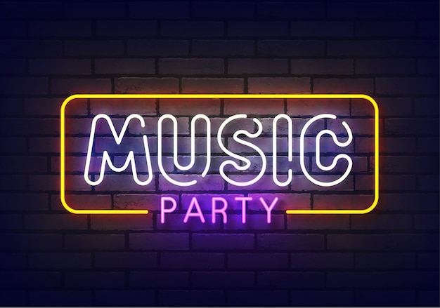 Music party neon sign. sign of music party with colorful neon lights isolated on brick wall. Premium Vector