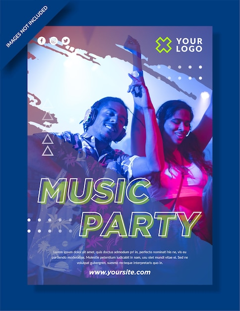 Music party poster and social media post Premium Vector