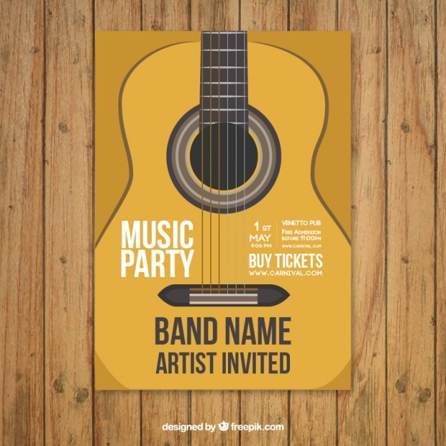 music party poster template with guitar vector free download