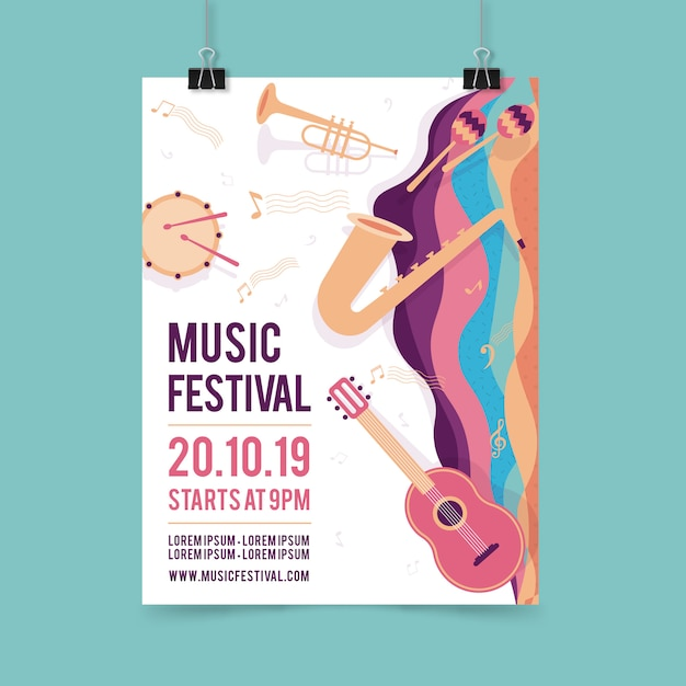 Music party poster template with musical instrument Free Vector