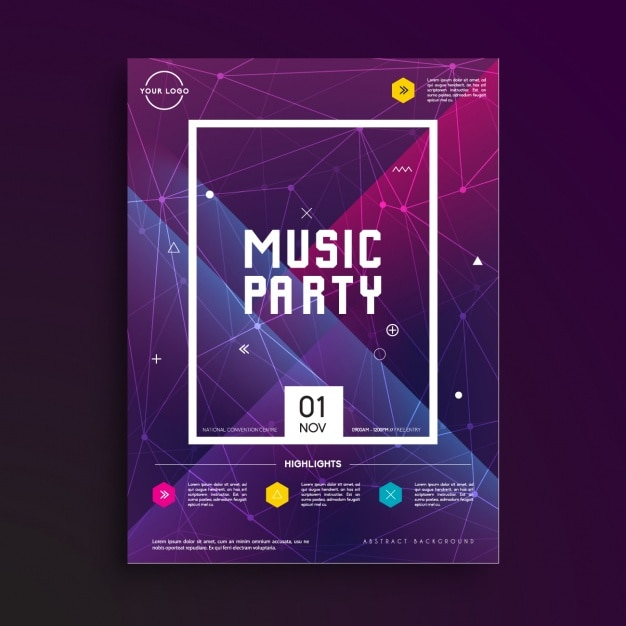 music party poster template vector free download. Black Bedroom Furniture Sets. Home Design Ideas