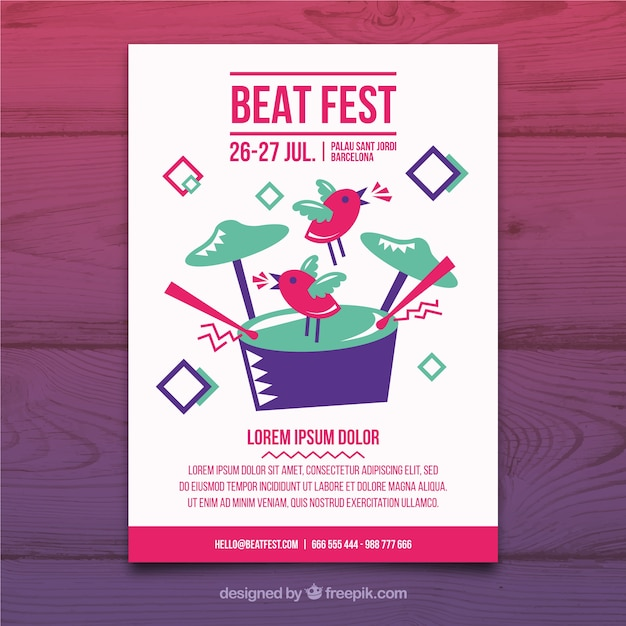 Music party poster template Free Vector