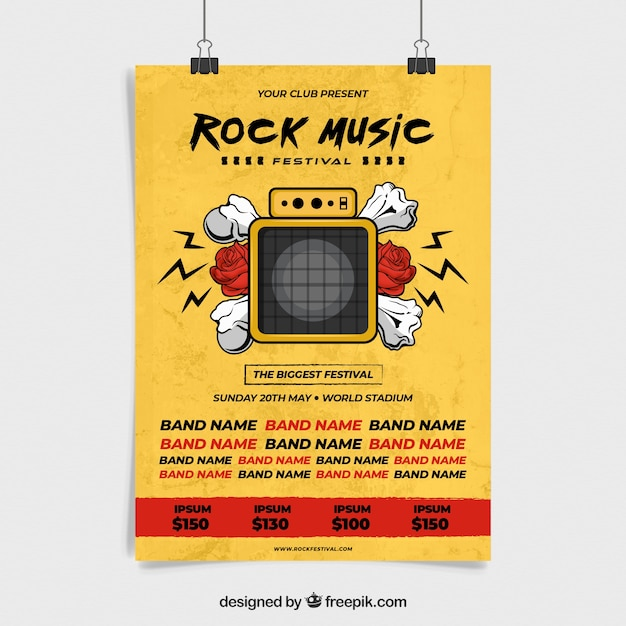 Music party poster with camera Free Vector