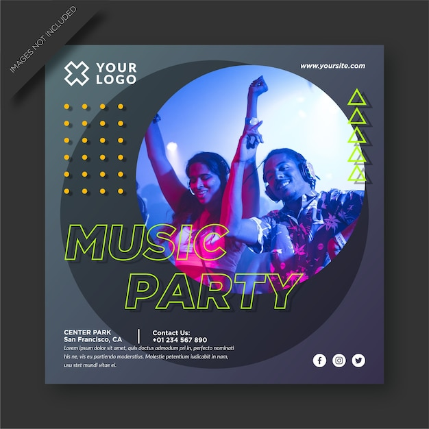 Music party  and social media post Premium Vector
