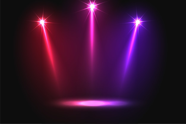 Music party three vibrant falling focus light background Free Vector
