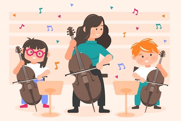 Music, perfomance, orchestra concept Premium Vector