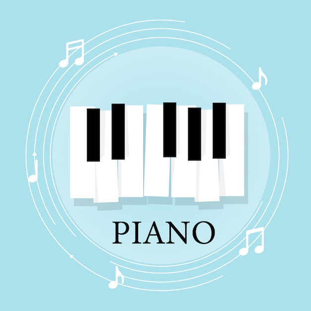 Music Piano Keyboard With Notes. Poster Background