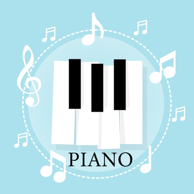 Music piano keyboard with notes. poster background template Premium Vector
