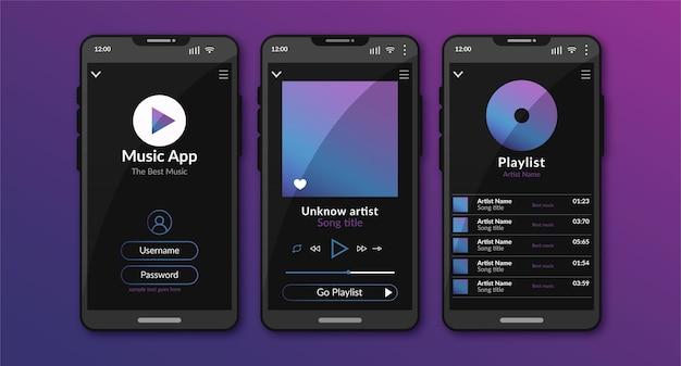 音楽プレーヤーアプリインターフェイスのコンセプト 無料ベクター
