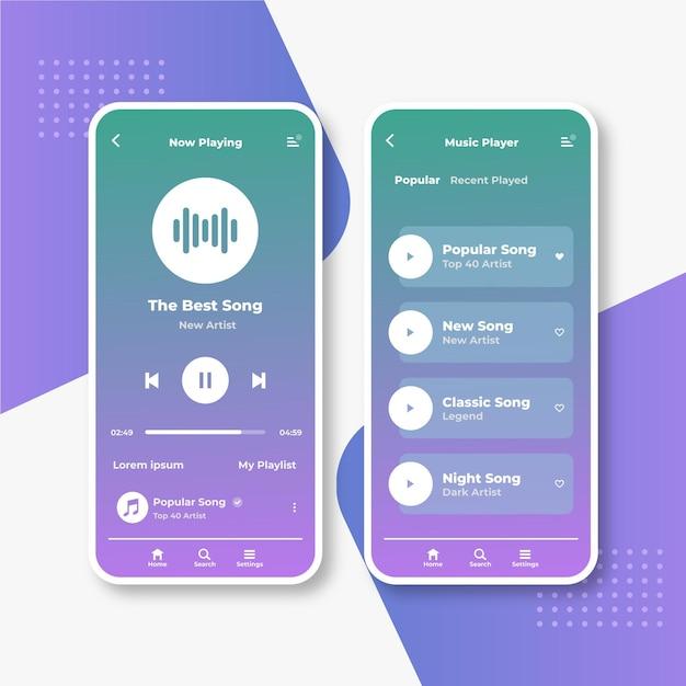 Music player app interface set Free Vector