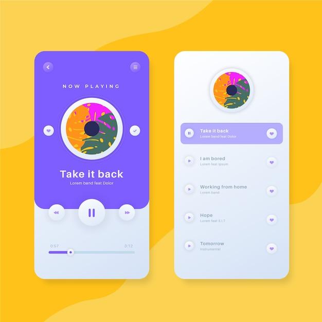 Stile dell'interfaccia dell'app del lettore musicale Vettore gratuito