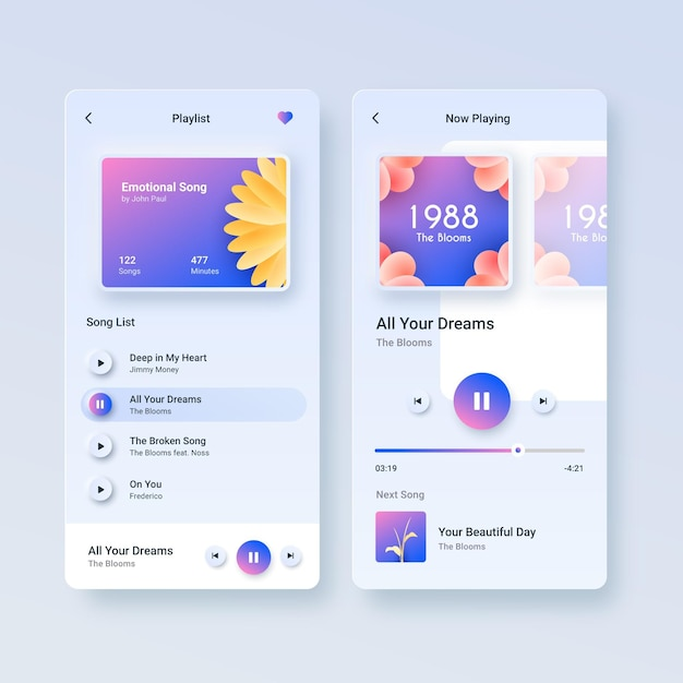 Music Player App Interface Template Set