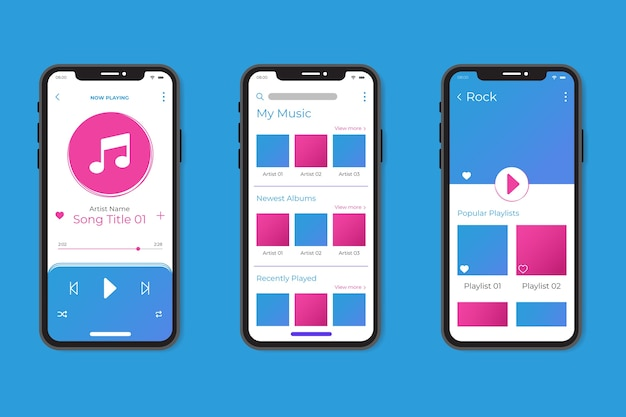 Music player app interface theme Free Vector