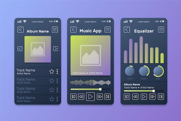 Music player app interface with sound waves Free Vector