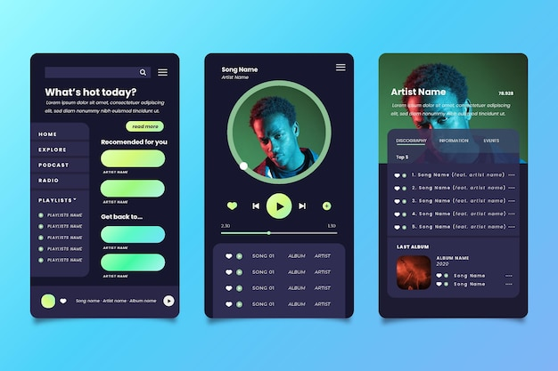 Music player app interface Free Vector