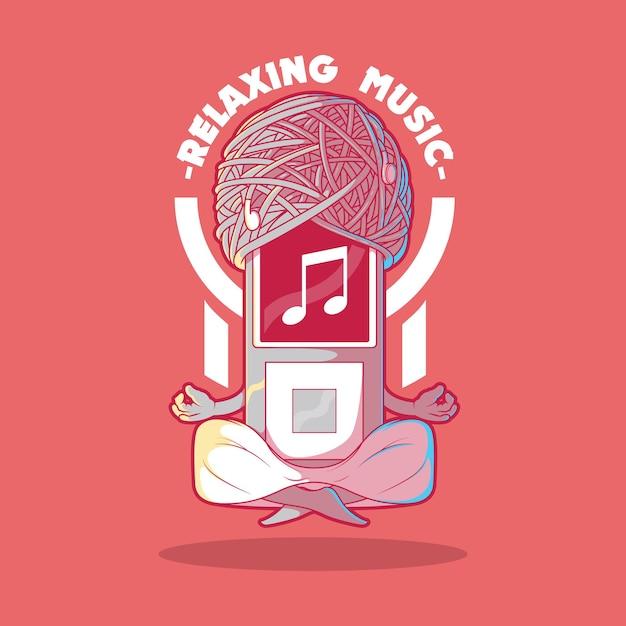 Музыкальный плеер медитирует иллюстрации концепции дизайна Premium векторы