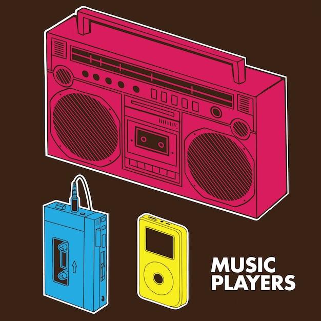 Music players evolution Premium Vector