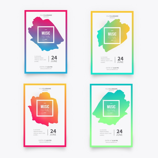 Music poster collection Free Vector