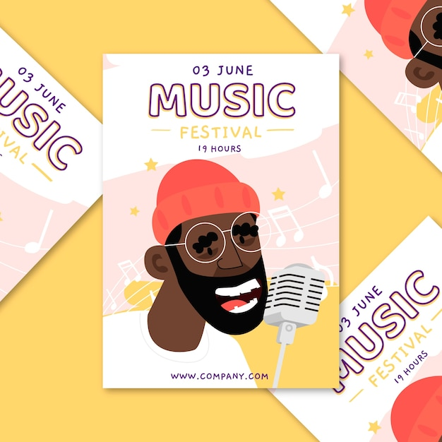 Music poster illustrated concept Free Vector