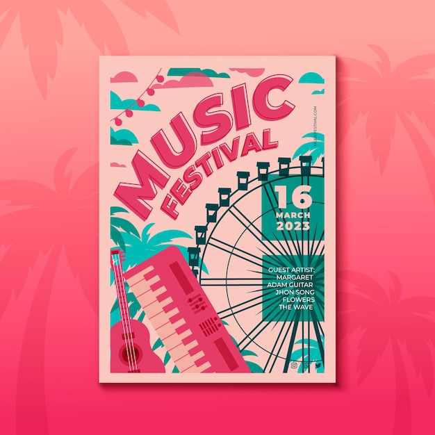 Music poster illustrated template concept Free Vector