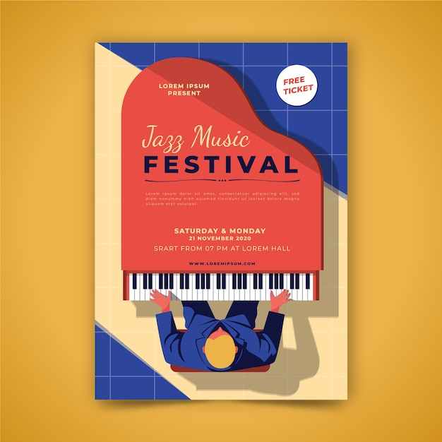 Music poster illustrated Free Vector
