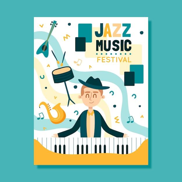 Музыкальный плакат шаблон иллюстрированный концепт Бесплатные векторы