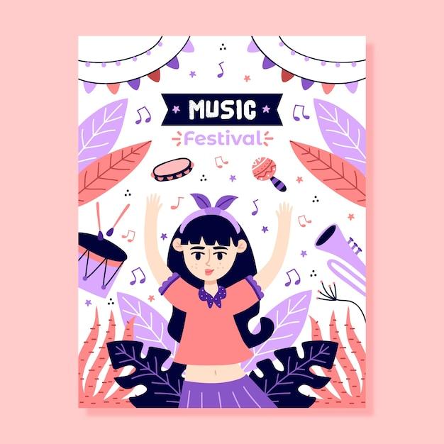 Шаблон музыкального постера иллюстрированный дизайн Бесплатные векторы