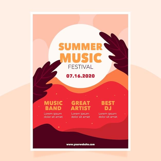 Шаблон музыкального плаката Бесплатные векторы