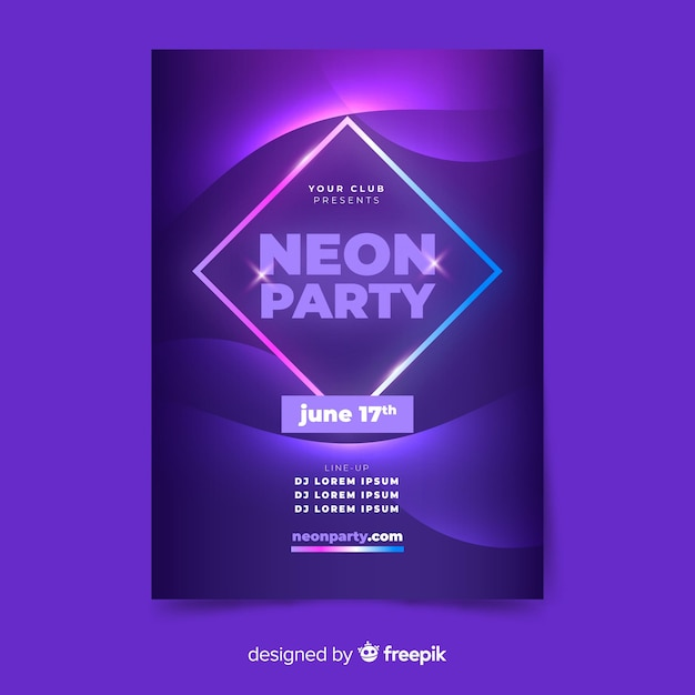 Music poster template in neon style Free Vector