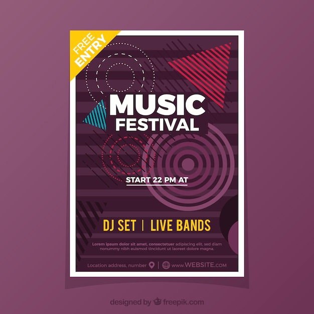 Music poster template with geometric shapes Free Vector