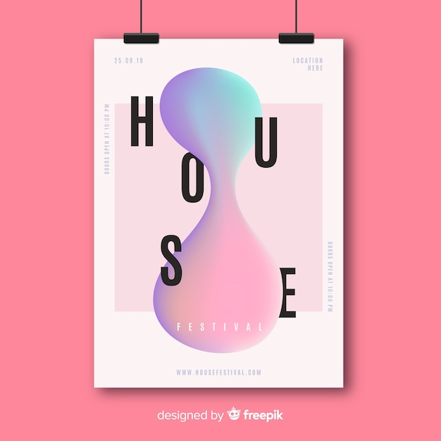 Music poster template with liquid effect Free Vector