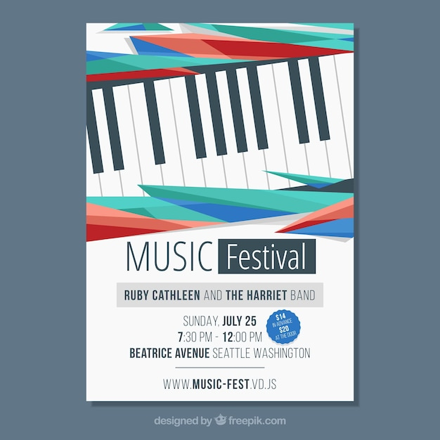 Music poster template with piano Vector | Free Download