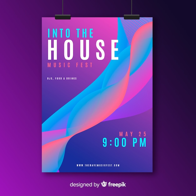 Music poster template Free Vector